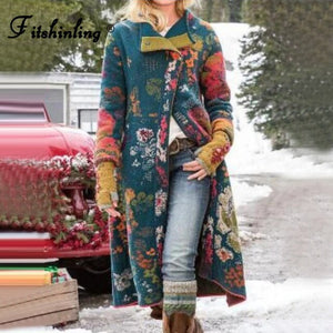 Invomall Women's Bohemian Long Thick Coat