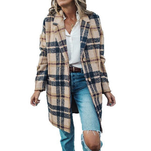 Invomall Women's Plaid Chic Woolen Coat