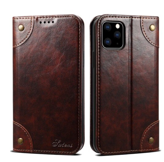Invomall Classic Wallet Flip Genuine Leather Case For Iphone