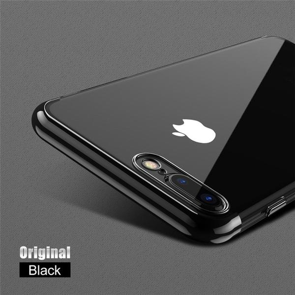 Phone Case - Ultra Thin Transparent Plating Shining Silicon Soft TPU Phone Case For iPhone