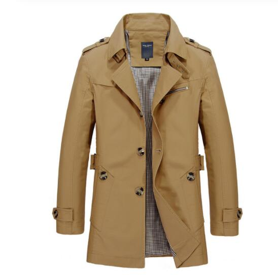 Invomall Men's High Quality Trench Coat