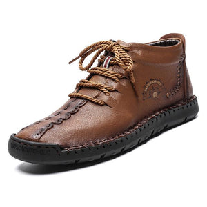 Invomall Autumn Winter Men's Big Size Leather Boots