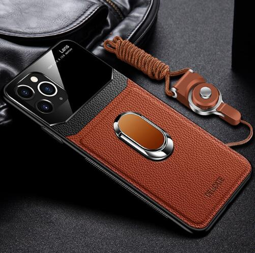 Invomall Leather+hard PC With Stand Ring Case For iPhone