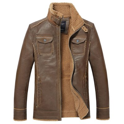 Invomall Men's Vintage Leather Jacket Thick Coat