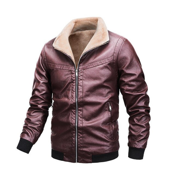 Invomall Men's Motorcycle Leather Jacket Fur Coats