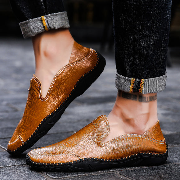 Invomall Men's Genuine Leather Comfortable Casual Shoes