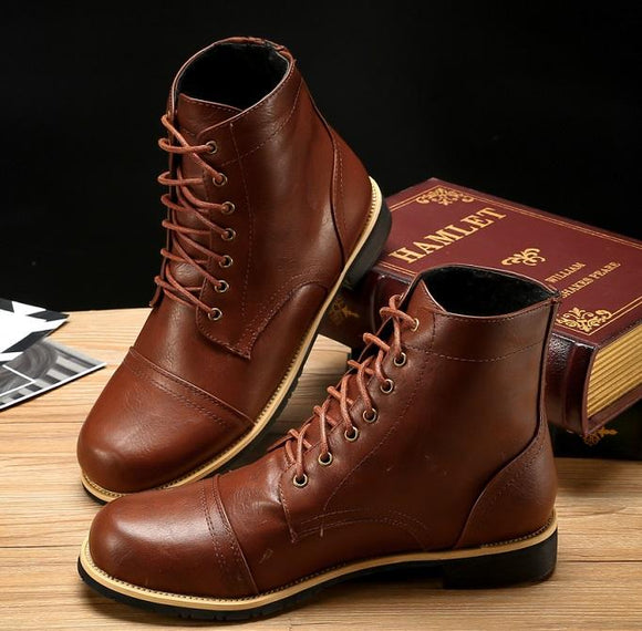 Invomall Autumn Winter Men's Fashion Ankle Boots