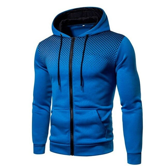 Invomal Men's Hip Hop Zipper Hooded Sweatshirt