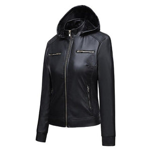 Invomall Women's Hooded Leather Jacket