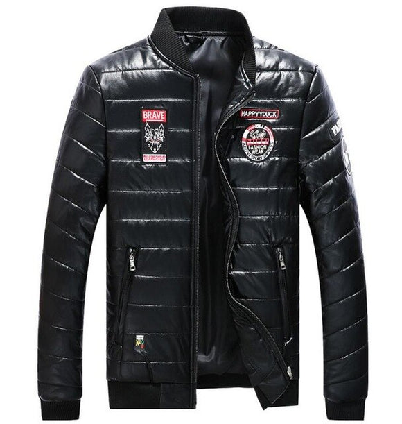 Invomall Men's Faux Leather Bomber Jackets