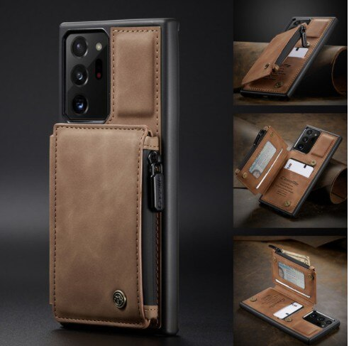 Invomall Zipper Leather Wallet Case For Samsung Galaxy Note 20 S20 Ultra S10 E S9 S8 Plus
