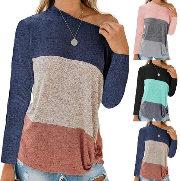 Women's Clothing - Long Sleeve Autumn Winter Hit Color Women T Shirt