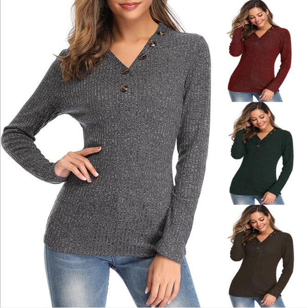 Women's Clothing - Autumn Winter Sexy V Neck Slim Women Sweater