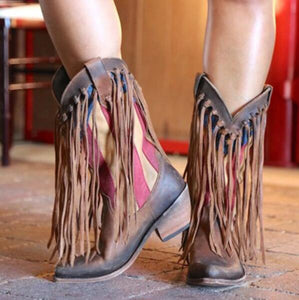 Shoes - Women's Ethnic Long Tassel Knight Boots