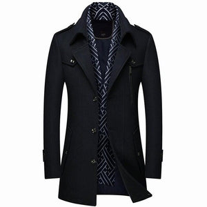Invomall Men's Woolen Jacket Long Trench Coat