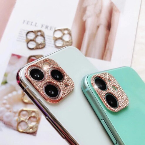 Invomall Luxurious 3D Glitter Diamond Bling Rhinestone Camera Lens Protector For iPhone