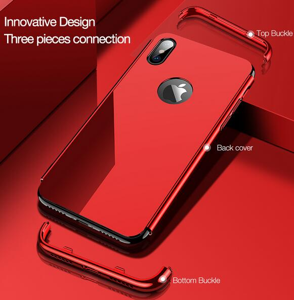 Phone Case - Luxury Ultra Thin 3 in 1 Plating Frame Tempered Glass Back Cover For iPhone X