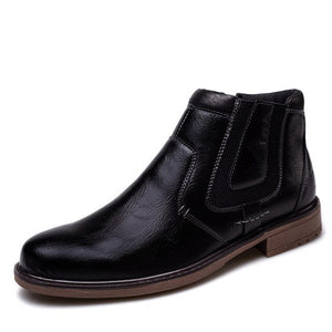 Invomall Men's Vintage Ankle Zipper Martin Boots
