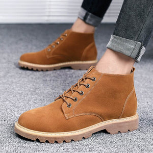 Invomall New Design Men's Leather Suede Ankle Boots