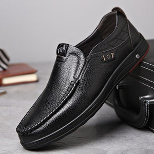 Invomall Men's Casual Soft Sole Leather Shoes