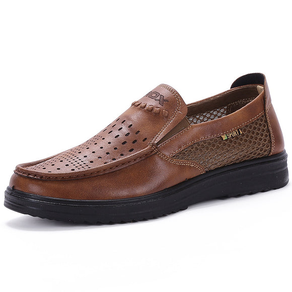 Invomall Men's Casual Lightweight Breathable Slip-On Handmade Shoes