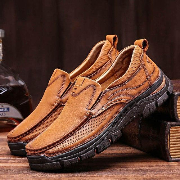 Invomall Spring Summer Men's Genuine Leather Fashion Shoes