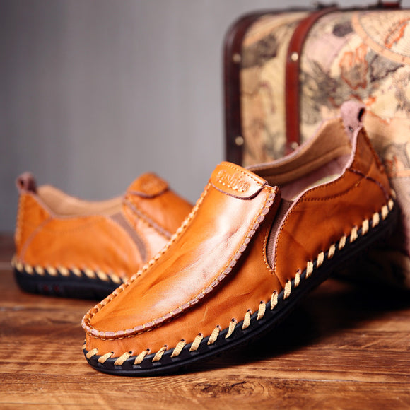 Invomall Men's Handmade Leather Loafers Moccasins