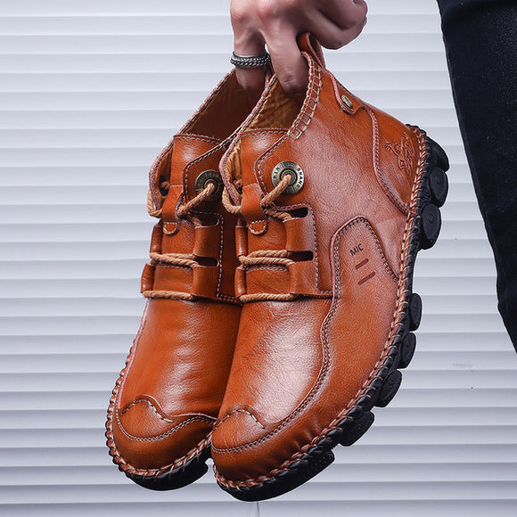 Invomall Autumn Winter Men's Ankle Leather Boots