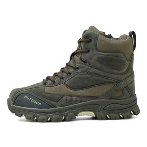 Invomall Men's Genuine Leather Tactical Military Combat Hiking Boots