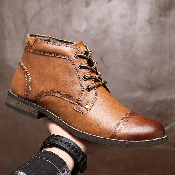 Invomall Men's New Arrival Fashion Vintage Leather Boots