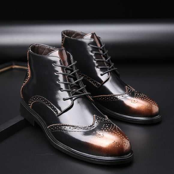 Invomall Autumn Winter Men's Brogue Boots