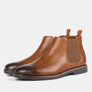 Invomall Men's Round Toe Business Leather Boots