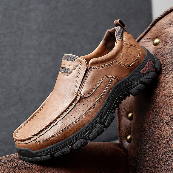 Invomall Men's Handmade Soft Leather Casual Shoes
