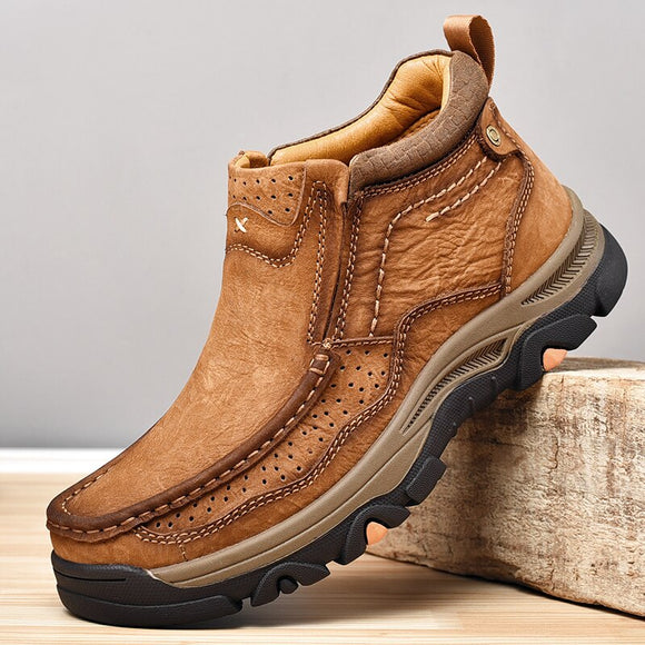 Invomall Men's Autumn Winter Genuine Leather Ankle Boots