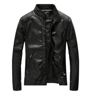 Invomall Men's Stand Collar Zipper Leather Jacket