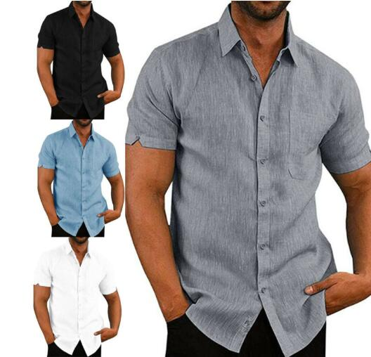 Invomall Men's Comfortable Short Shirts