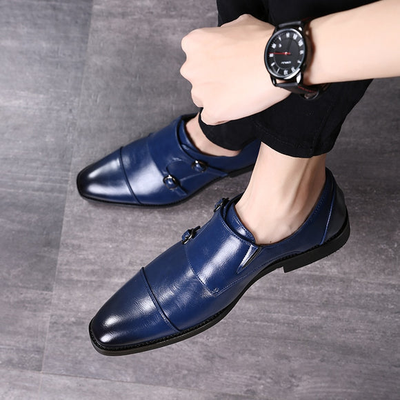 Invomall New Arrival Comfortable Pointed Toe Leather Dress Shoes