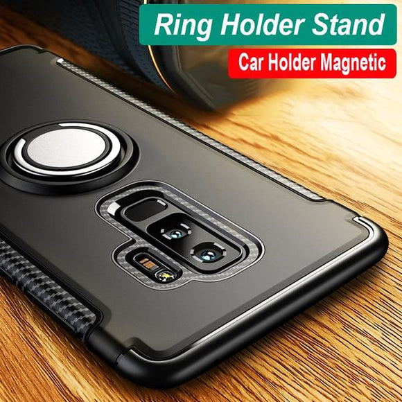 Invomall Luxury Magnetic Bracket Finger Ring Shockproof Armor Phone Case For Samsung