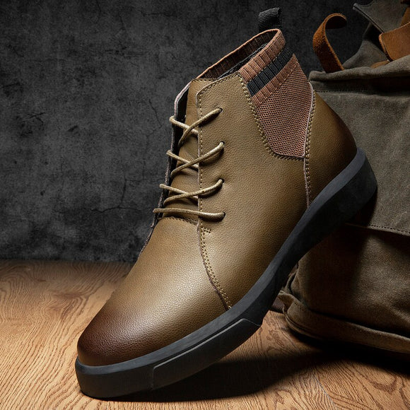 Invomall Vintage Leather Casual Warm Boots