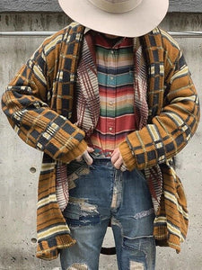 Invomall Men's Plaid Printed Casual Cardigans Coat