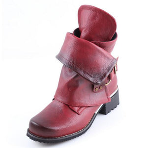 Invomall New Fashion Luxury Women's Genuine Leather Buckle Boots