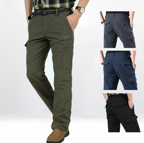 Invomall Men's Winter Thick Warm Cargo Pants