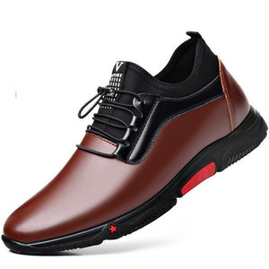 Invomall Men's Height Increase Leather Sports Shoes