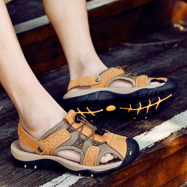 Shoes - Fashion Genuine Leather Men's Summer Beach Sandals