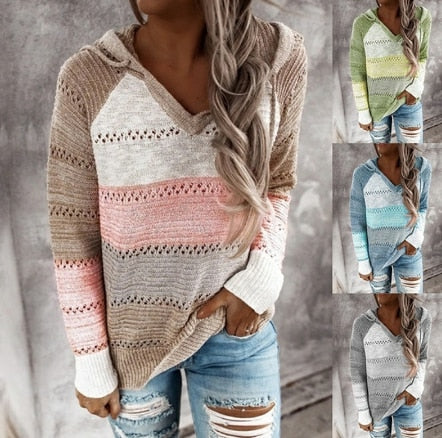 Invomall New Patchwork Hooded Sweaters