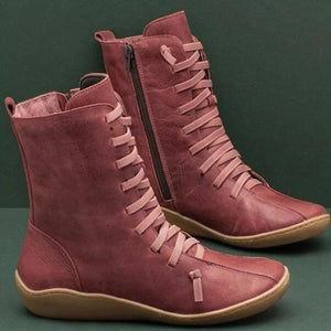 Invomall New Women's Vintage Leather Ankle Boots