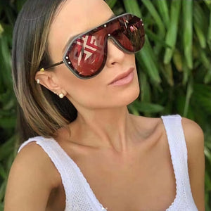 Invomall Women's Oversize Letter Mirror Coating Sunglasses