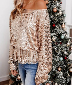 Invomall Women's Sexy Sequin Blouses
