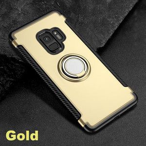 Phone Case - Luxury Magnetic Bracket Finger Ring Shockproof Armor Phone Case For Samsung