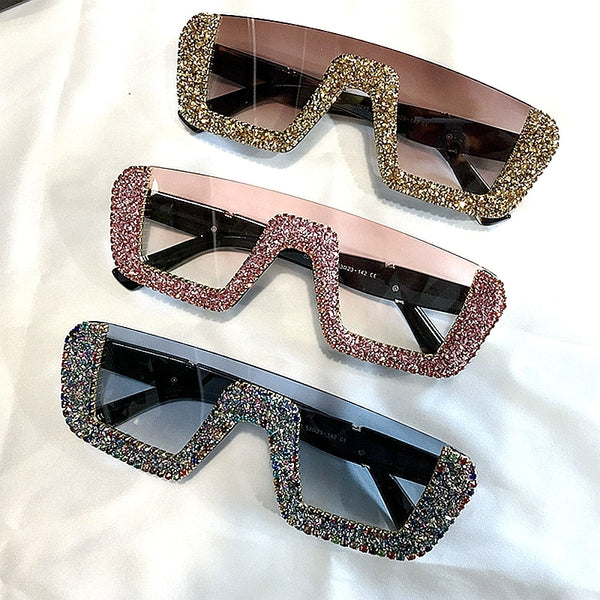 Sunglasses - Luxury Rhinestone Half Frame Sunglasses